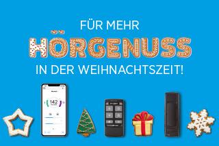 Schriftzug: Für mehr Hörgenuss in der Weihnachtszeit mit weihnachtlichen Motiven und Abbildungen eines Smartphones und einer Fernbedienung