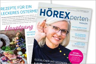 Cover des HÖREX Magazins mit Frau im Vordergrund, Rezeptseite im Hintergrund
